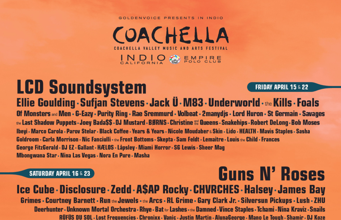coachella 2016 festival lineup announced guns n roses calvin harris ice cube lcd. Black Bedroom Furniture Sets. Home Design Ideas