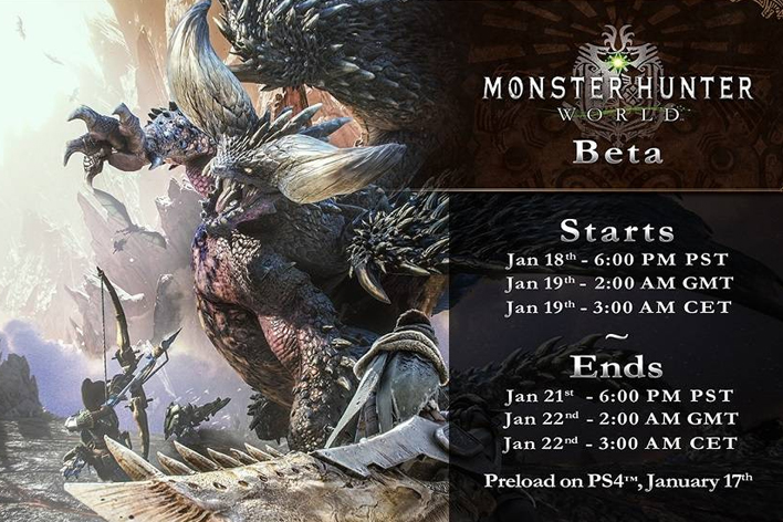 Monster Hunter World Beta Times >> Monster Hunter: World Beta Dates, Times And Download Size Revealed | Player.One