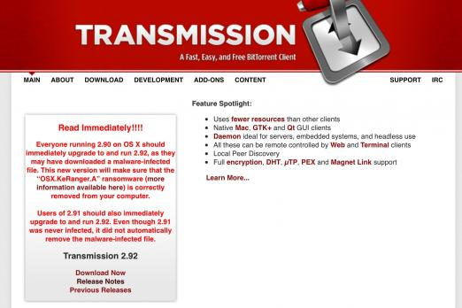 First Mac Ransomware 'KeRanger' Strikes Via Transmission