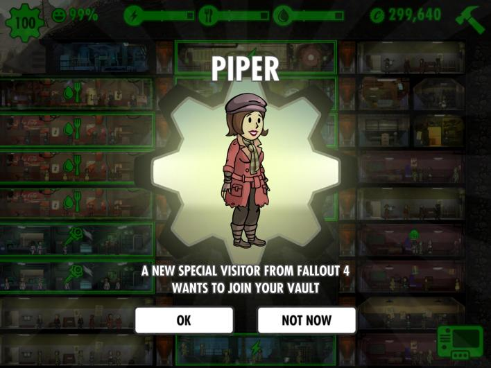 Fallout Shelter Update 1.2 Includes Piper from Fallout 4