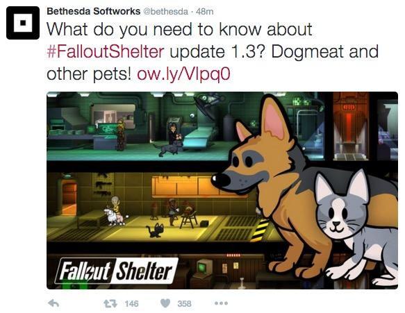 allout pets New Fallout Shelter game Update 1.3 : Get Pets, Evict Slackers, Meet New Objectives Bethesda's Latest Update iOS Android dogmeat