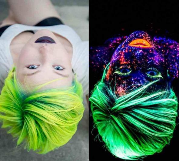 'Glow In The Dark Hair' New Fashion Trend 2016 On Instagram And Tumblr: Here's How To Get It neon hairspray glow in the dark dye gel hair spray trending viral