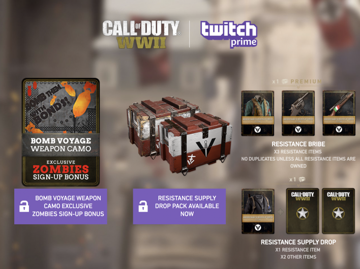 Call Of Duty WWII Resistance Twitch Prime Loot