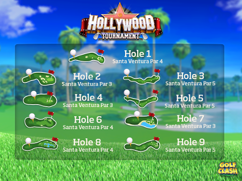 golf clash Hollywood tournament courses prizes start time practice Santa Ventura reddit