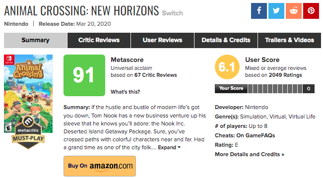 03.26.20 6PM EST ACNH Metacritic score